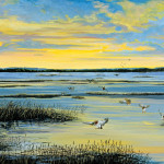 An original painting of ducks landing on the marsh at the Cheyenne Bottoms.