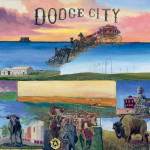 An original painting collage of Dodge City including the cattle drive, stagecoach, buffalo, steam engine train, tornado, Fort Dodge, and wind turbines