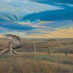 Original painting of a hawk landing on a post rock in Western Kansas