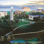 Original painting of the view overlooking Mount Oread on the University of Kansas campus