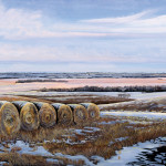 Original painting of snow covered hay bales on the Osage County prairie