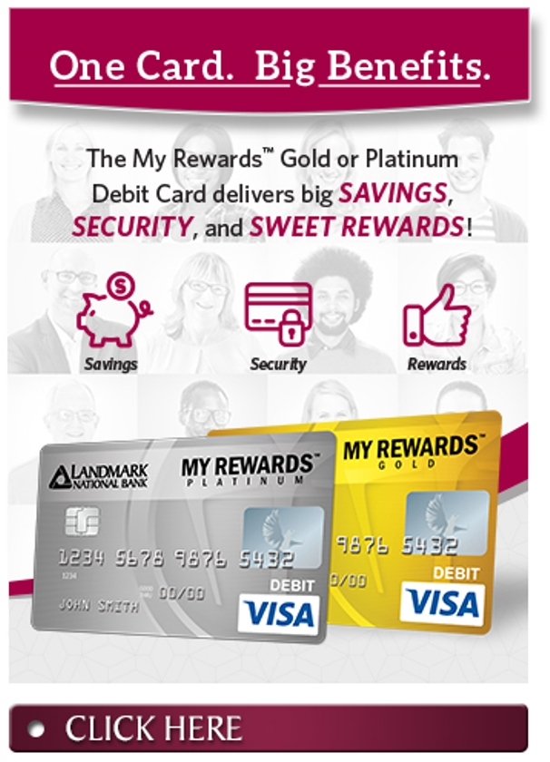 The My Rewards Gold or Platinum Debit Card delivers big Savings, Security and Sweet Rewards